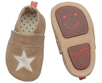 Anna y Paul - Zapatillas de bebé de piel - Stella almendra de piedra ...