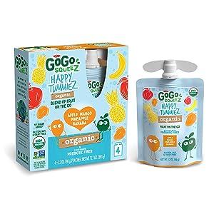 GoGo squeeZ happy tummieZ, Organic Apple Mango Pineapple Banana, 3.2 Ounce (24 Pouches), USDA Organic Certified, Fruit Pouches with Prebiotic Fiber, Kosher, Vegan