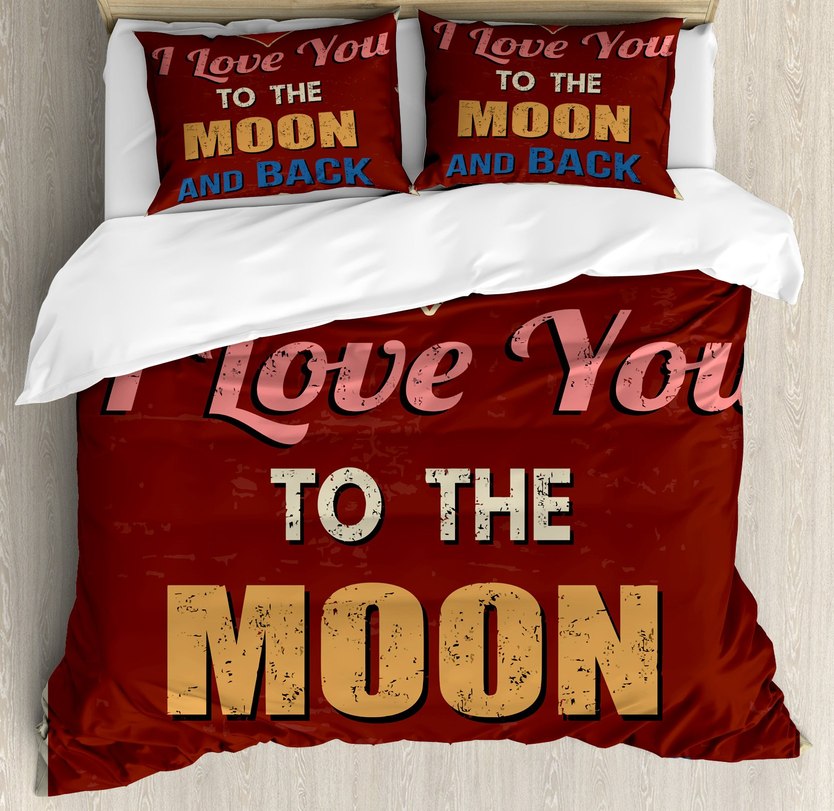 I Love You Duvet Cover Set King Size by Ambesonne, Vintage Style I Love You to the Moon and Back Calligraphy Nostalgic Romance, Decorative 3 Piece Bedding Set with 2 Pillow Shams, Ruby Marigold