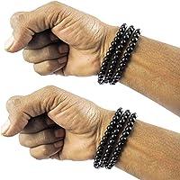 eshoppee Black Round Beaded Multi Layer Bracelet Wrist Bands for Men and Women Set of 2 pcs