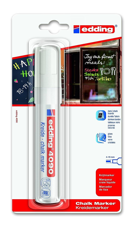Edding 4090 Marqueur pour vitres Blanc (Import Allemagne) 4-4090-1-1049 Craie liquide Marqueur pour vitres