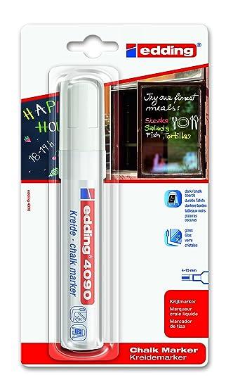 edding 4090-1-49 - Blíster marcador para vidrio con la grosor de trazo de 4-15 mm, color blanco