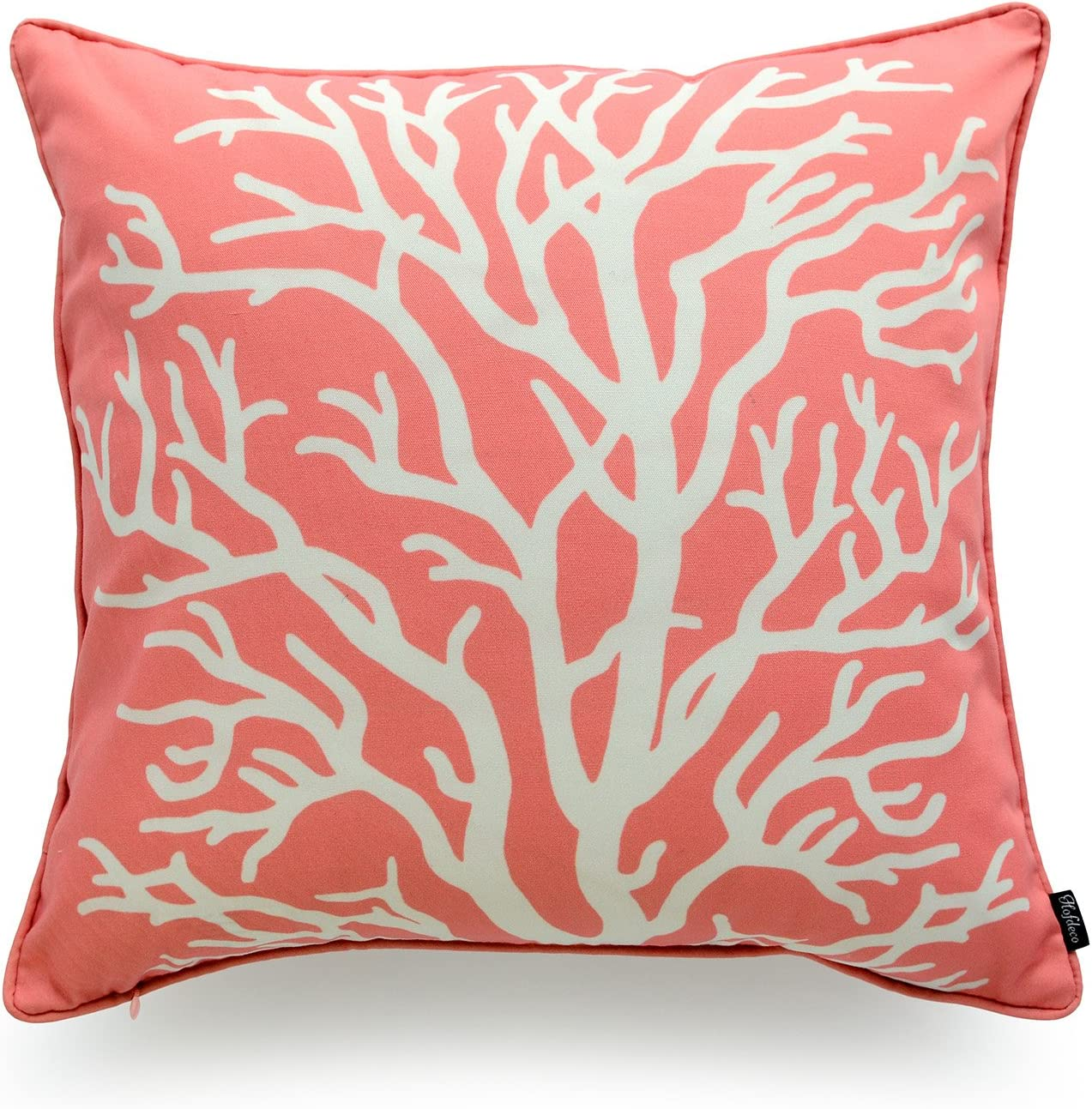 Hofdeco Beach Indoor Outdoor Pillow Cover ONLY, Water Resistant for Patio Lounge Sofa, Coral Pink Living Coral, 18