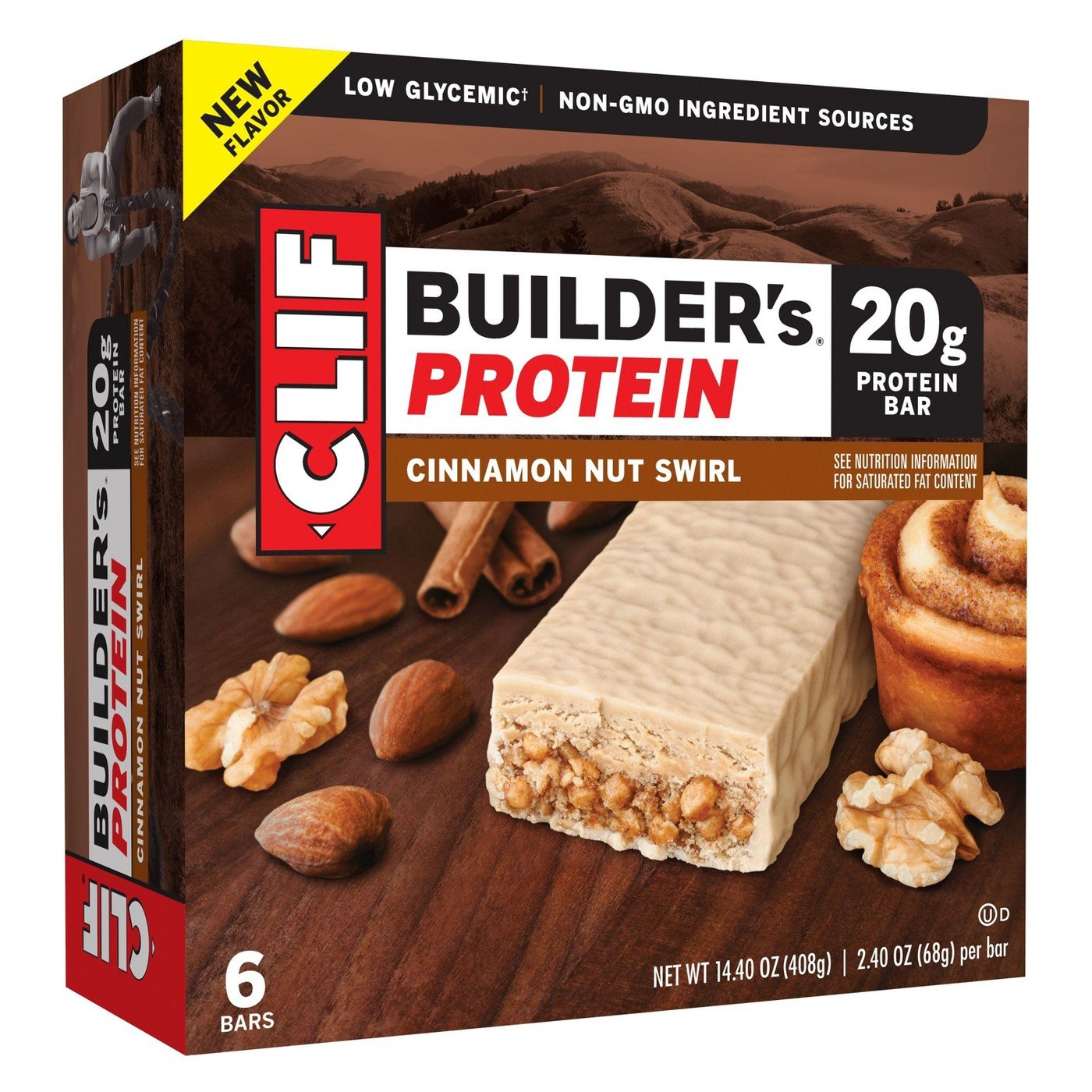 Clif Builder s Protein Bar Cinnamon Nut Swirl 14.4oz 2.4oz x 6 bars , pack of 1