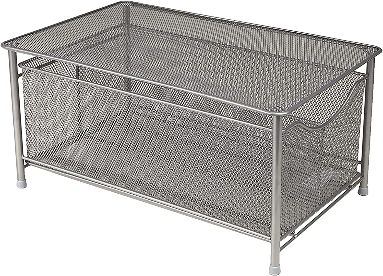 Mind Reader Metal Sliding Drawer and Steel Mesh Platform On Top Storage, 9.38 X 15.38 X 7.5, Silver Basket