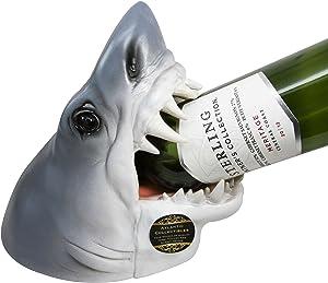 "Atlantic Collectibles Ocean Megalodon Shark 9"" Tall Wine Bottle Holder Caddy Figurine"