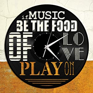 if Music be The Food Vinyl Wall Clock Unique Gift for Friends Home Decoration Vintage Design Office Bar Room Home Decor
