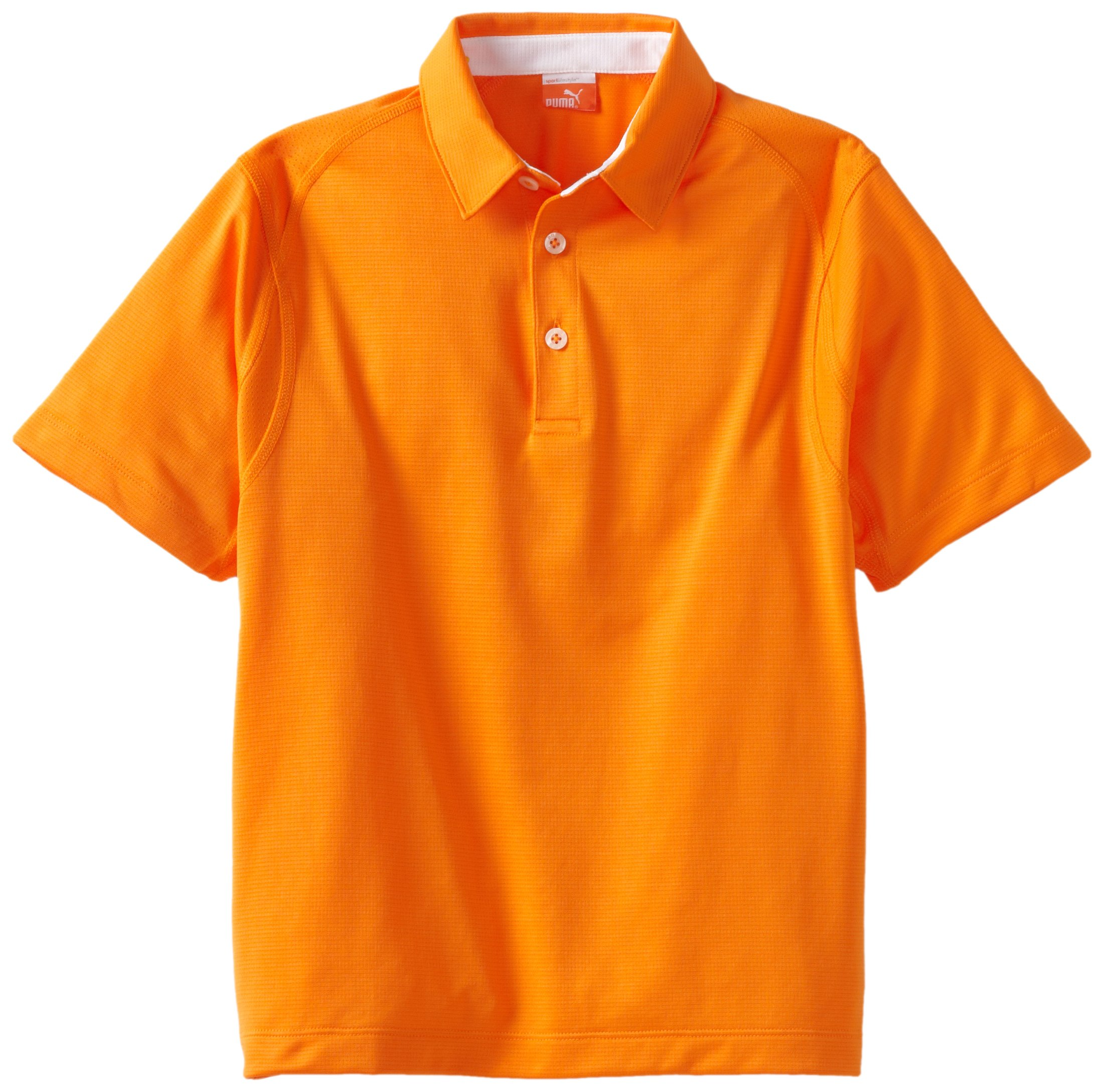 Puma Golf Boy's Tech Polo Tee, Vibrant Orange, Large by PUMA