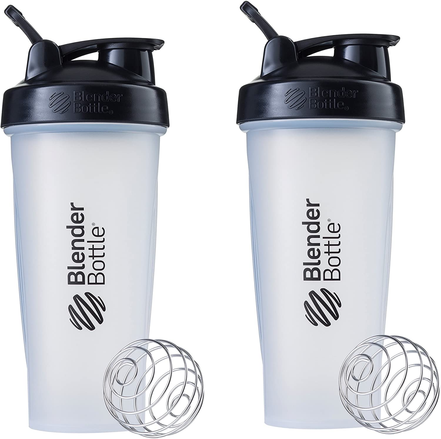 BlenderBottle Classic Loop Top Shaker Bottle, 28-Ounce 2-Pack, Clear/Black