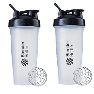 Blender Bottle Classic Loop Top Shaker Bottle, 28-Ounce 2-Pack, Clear/Black