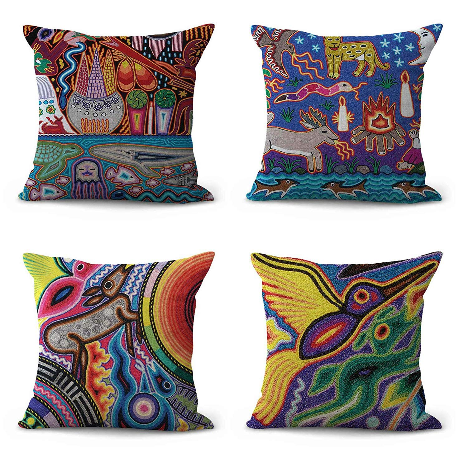 "Semtomn Set of 4 Linen Throw Pillow Covers Folk Indigenous Mexican Wholesale Retro Colorful Abstract Animal Home Decorative 20""x20"" Flax Pillow Cases Cushion Square Pillowcases"