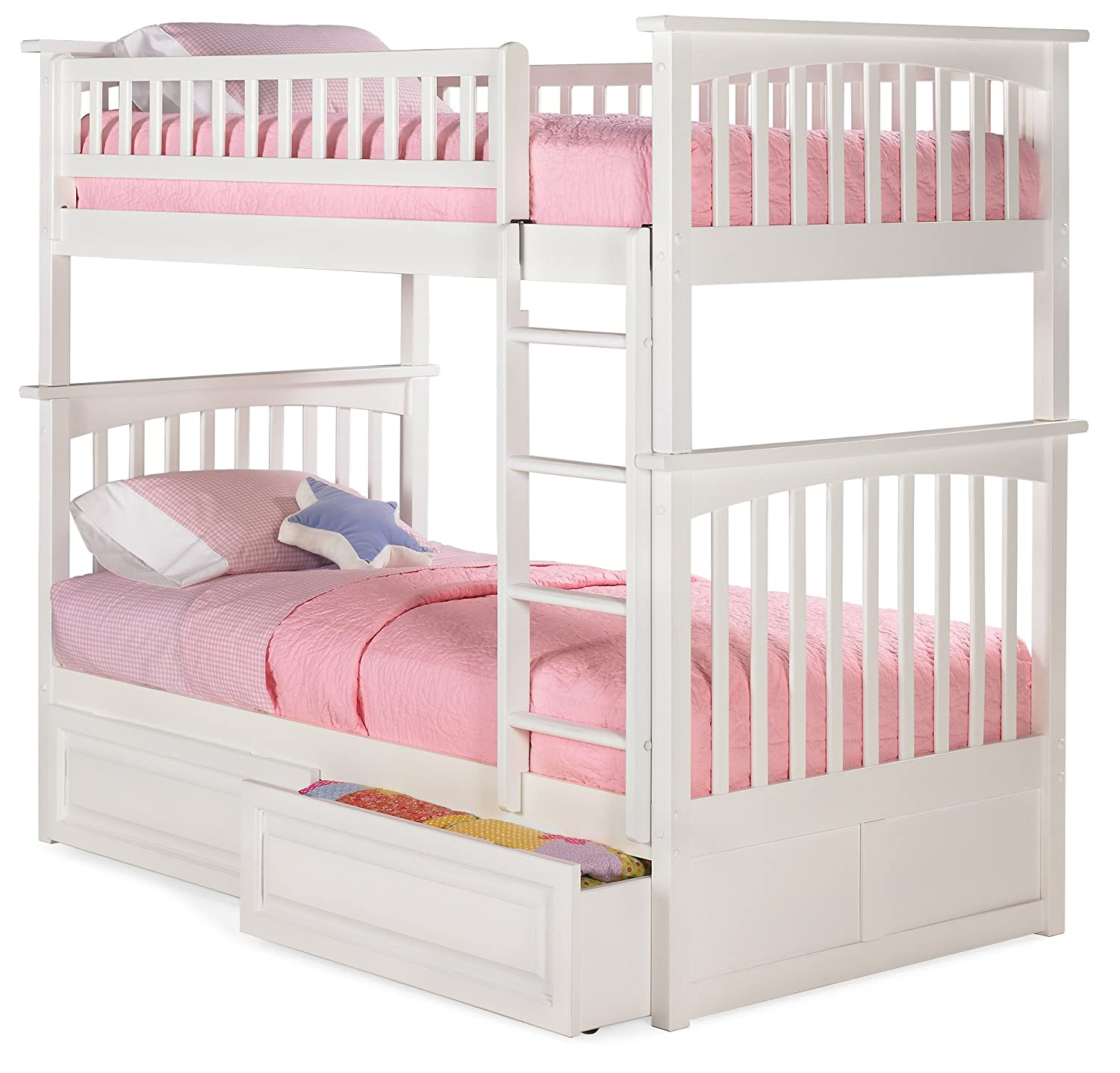Bunk Bed with 2 Raised Panel Bed Drawers, Twin Over Twin, White
