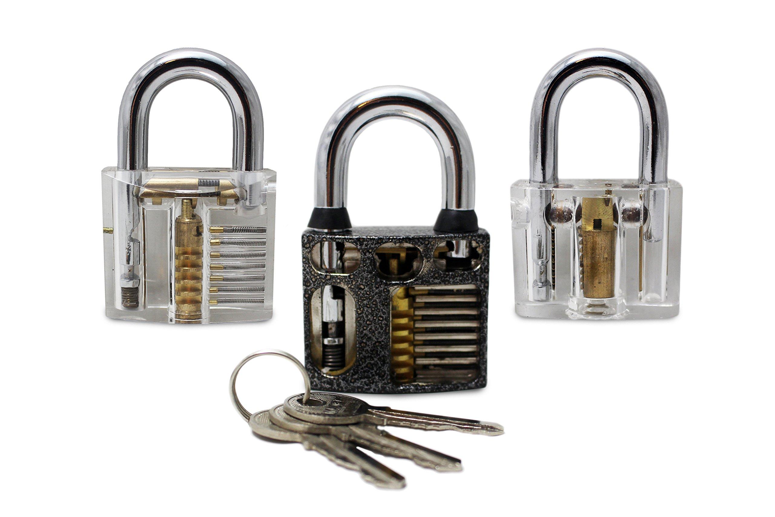 Step up 3pc Lock Set for Training Practice - Clear Transparent Cutaway Padlocks