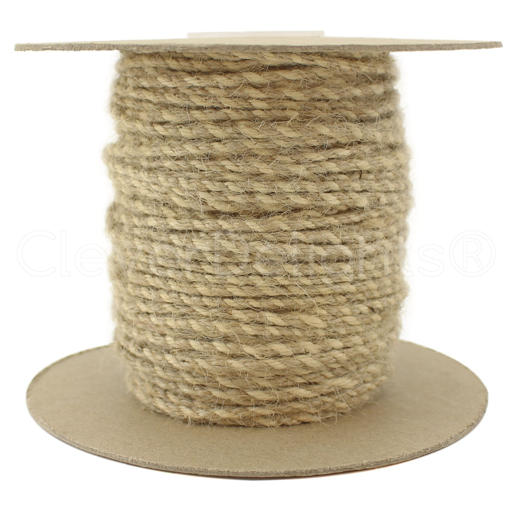 CleverDelights Jute Twisted Twine - 50 Yards - Natural and Ivory Color - 3mm Diameter - Eco-Friendly Natural Jute Rope String by CleverDelights