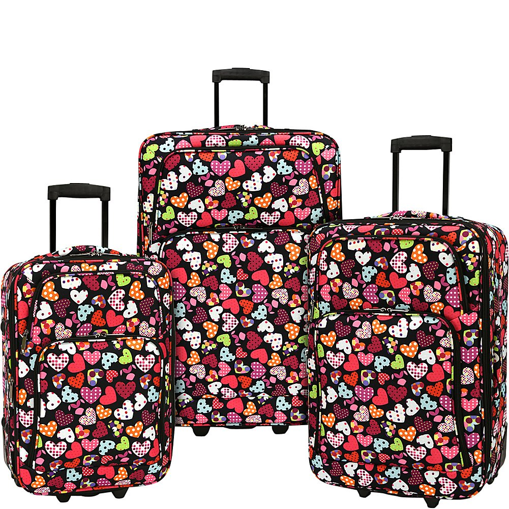 Elite Luggage Print 3 Piece Expandable Rolling Luggage Set (Love Hearts)