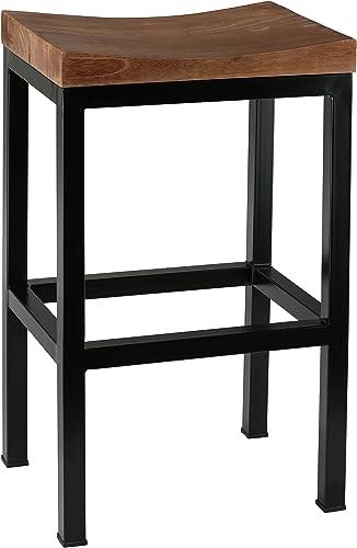 Bare Decor Kitta Metal Barstool with Solid Wood Seat