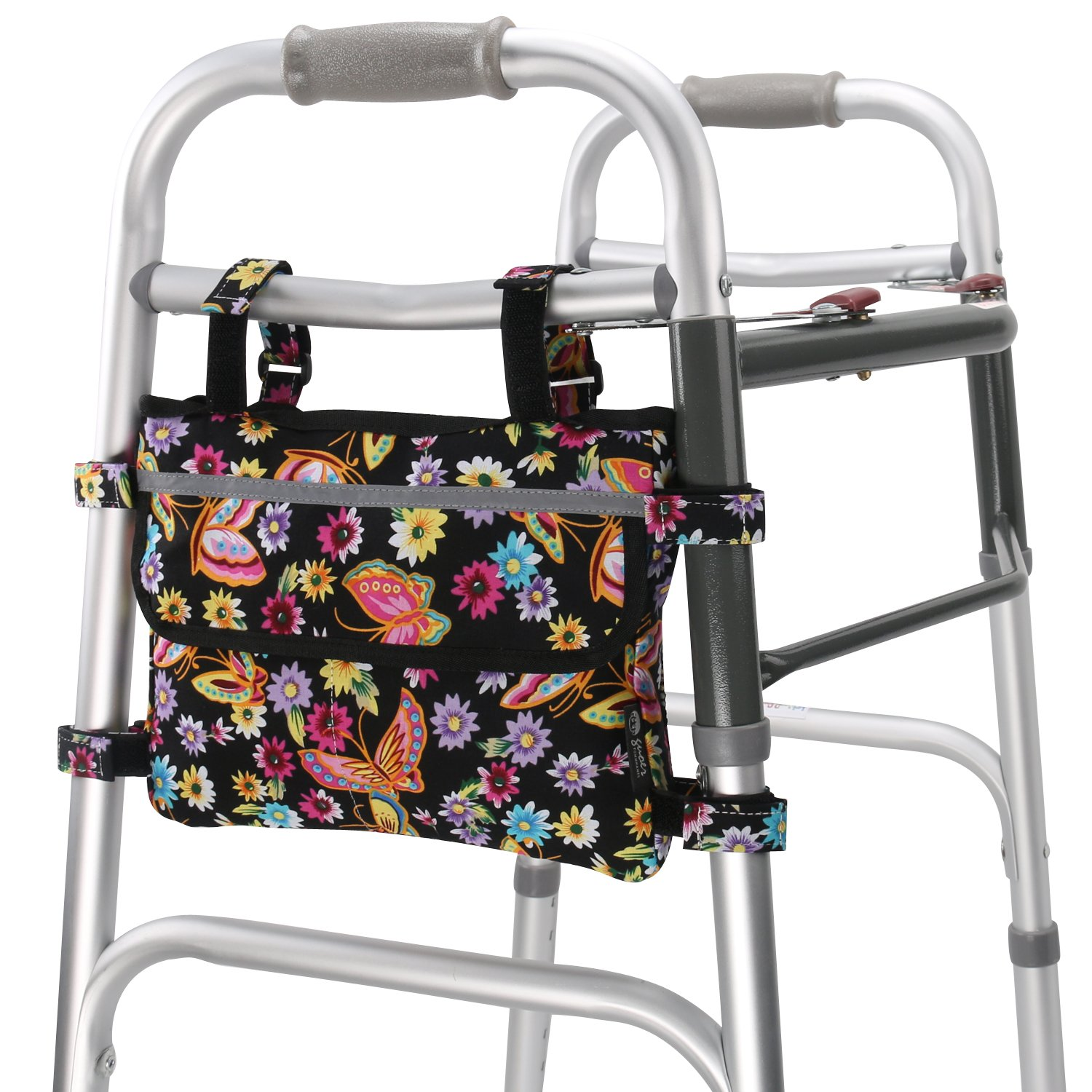 GUOER Walker Bag Suitable for Multiple Walking AIDS Rollator Bag Multi-Size Multiple Colors (7.8Wx9.8L in,Color9801)