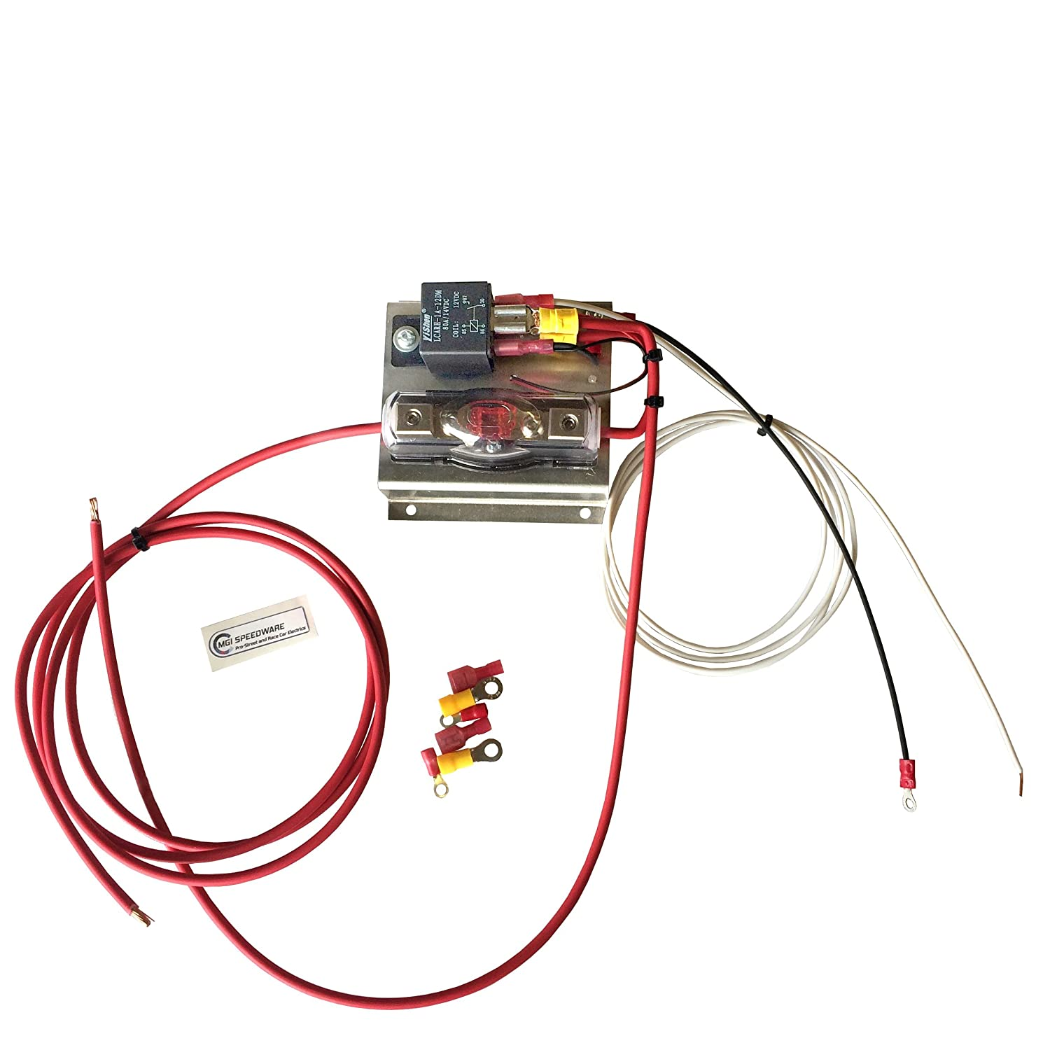 6 Relay MGI SpeedWare Relay Panel Box and Wiring Block Kit with 12 Volt DC Automotive Relay Switches and LED Blade Fuses