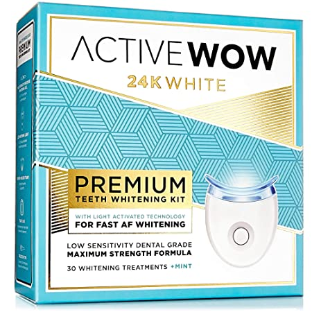Active Wow Teeth Whitening Kit – LED Light, 36 Carbamide Peroxide, Mint