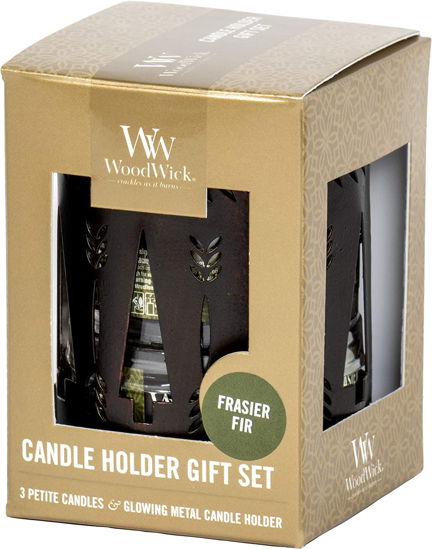 WoodWick Frasier Fir Petite Candle Holder Gift Set
