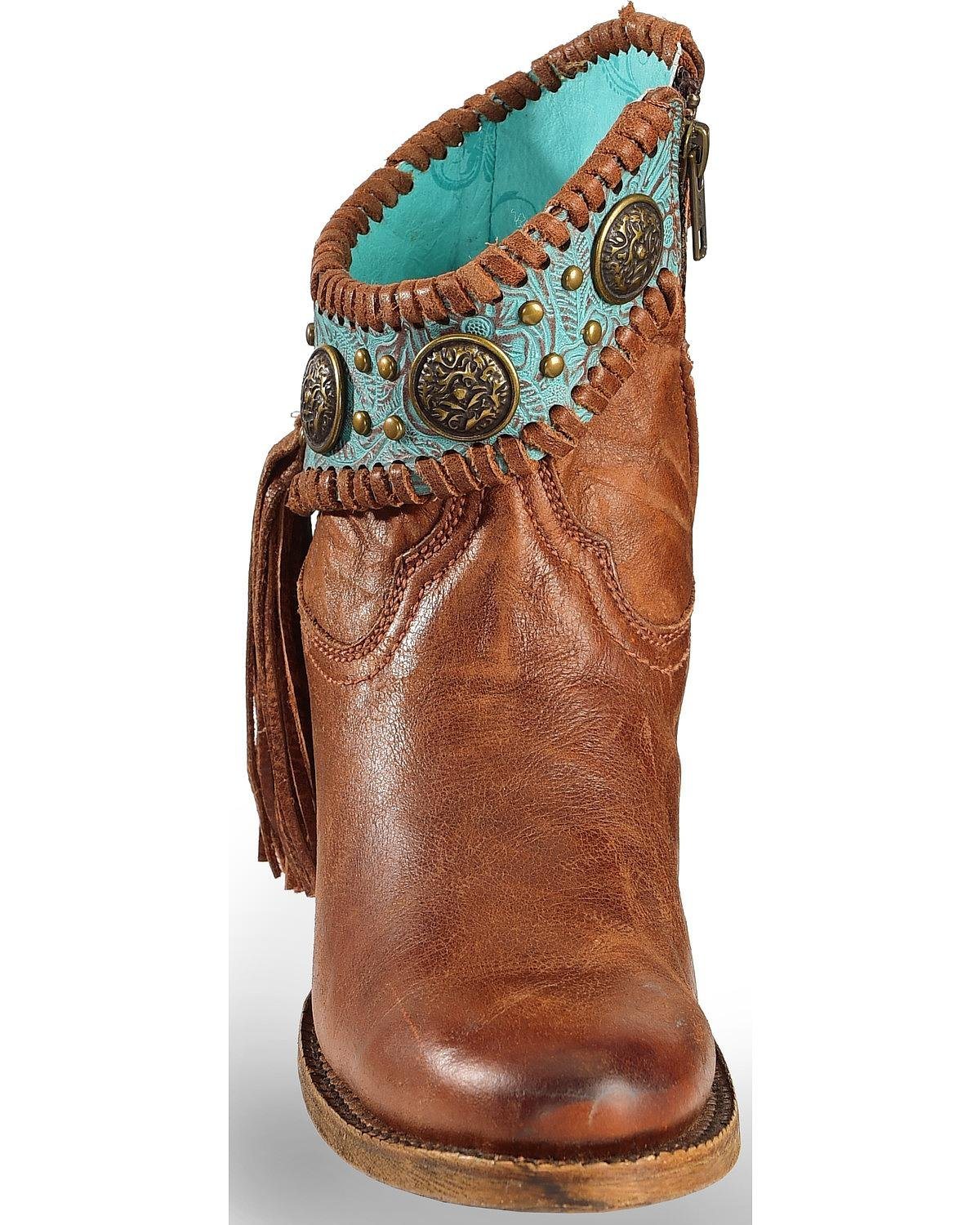 CORRAL Women\'s Turquoise Fringe Ankle Boot Round Toe - A3196 ...