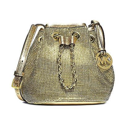 9c89caf2 ... coupon michael kors pale gold frankie metal mesh drawstring crossbody  744ad 4178b