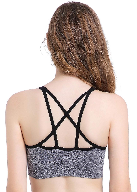 7c85626c70f5c Strap sports bra criss cross seamless comfort yoga bra padded workout bra  pack of or at