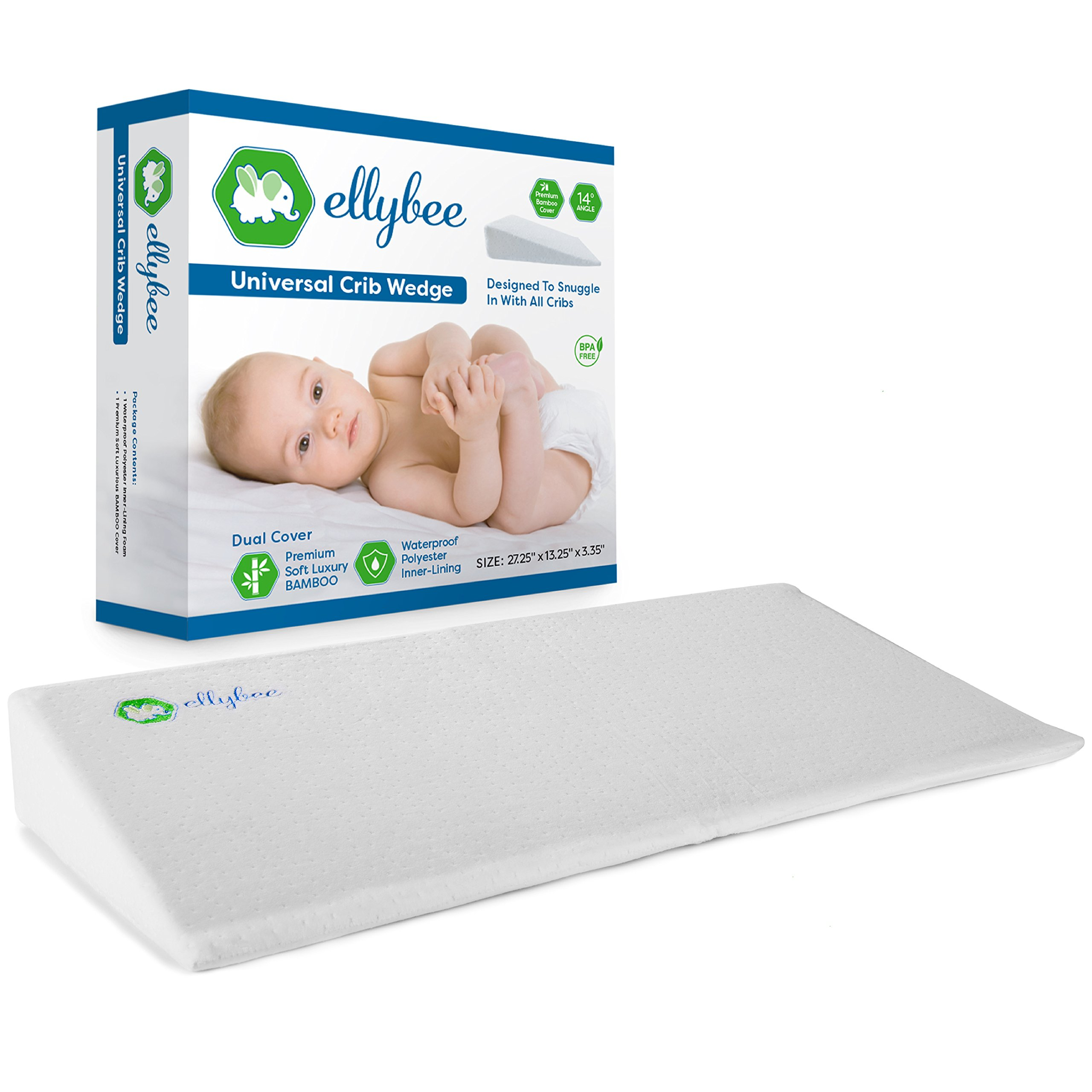 Ellybee Universal Crib Wedge Pillow for Baby Crib Mattress | Acid Reflux |  Premium Bamboo Hypoallergenic Washable & Waterproof Cover | Foldable  14-degree ...