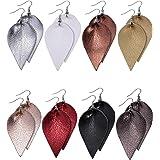 Jetec 8 Pairs Faux Leather Earrings Set Leather Leaf Earrings Petal Dangle Drop Earrings Handmade Lightweight Earrings for Wo