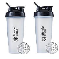 BlenderBottle Classic Loop Top Shaker Bottle, 28-Ounce 2-Pack, Clear/Black