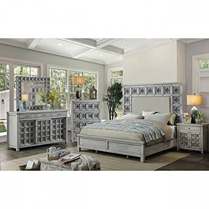 Amazoncom Pantaleon Bedroom Antique Light Grey Regal Bedframe