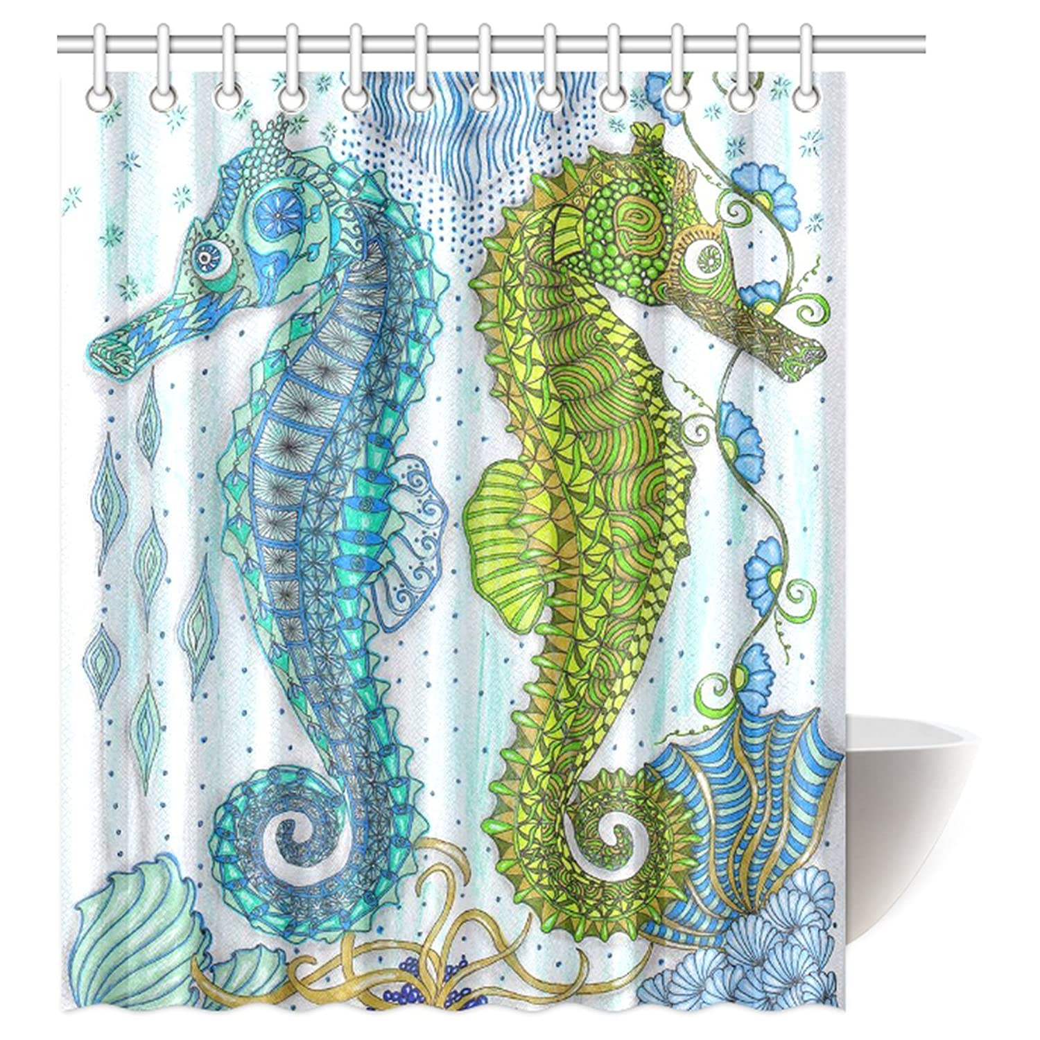 Three Length Choices Seahorse Shower Curtain
