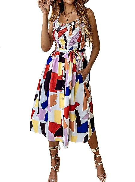 5e78adb4ec83a PRETTYGARDEN Women's Summer Sunflower Boho Spaghetti Strap Semi-Backless  Button Down A-Line Midi Dress with Belt and Pockets
