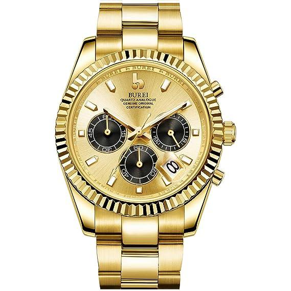 Mit Edelstahl Burei Analoge Herren Tönen Armbanduhren Datumsfenster Uhrenarmband Zifferblatt Saphirglasglas Zwei Chronograph Quarz Uhr 0wNn8m