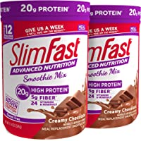 SlimFast Advanced Nutrition Creamy Chocolate Smoothie Mix – Weight Loss Meal Replacement – 20g of protein – 11.4 oz Canister – 12 servings (Pack of 2)
