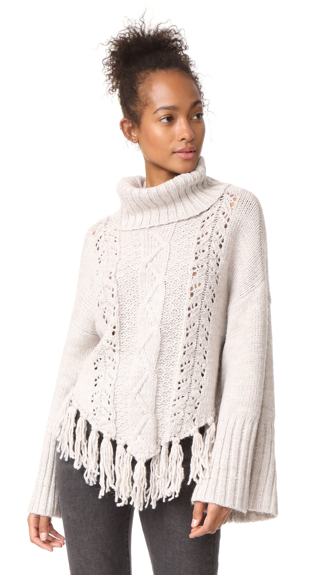 cupcakes and cashmere Women's Prilla Cable Knit Sweater, Latte, X-Small by cupcakes and cashmere (Image #1)