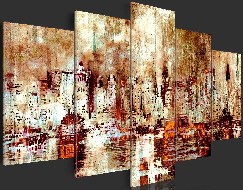 murando Quadro 100x50 cm 5 Pezzi Stampa su Tela in TNT XXL Immagini Moderni Murale Fotografia Grafica Decorazione da Parete Citta City New York Astratto Come Dipinto d-A-0046-b-n