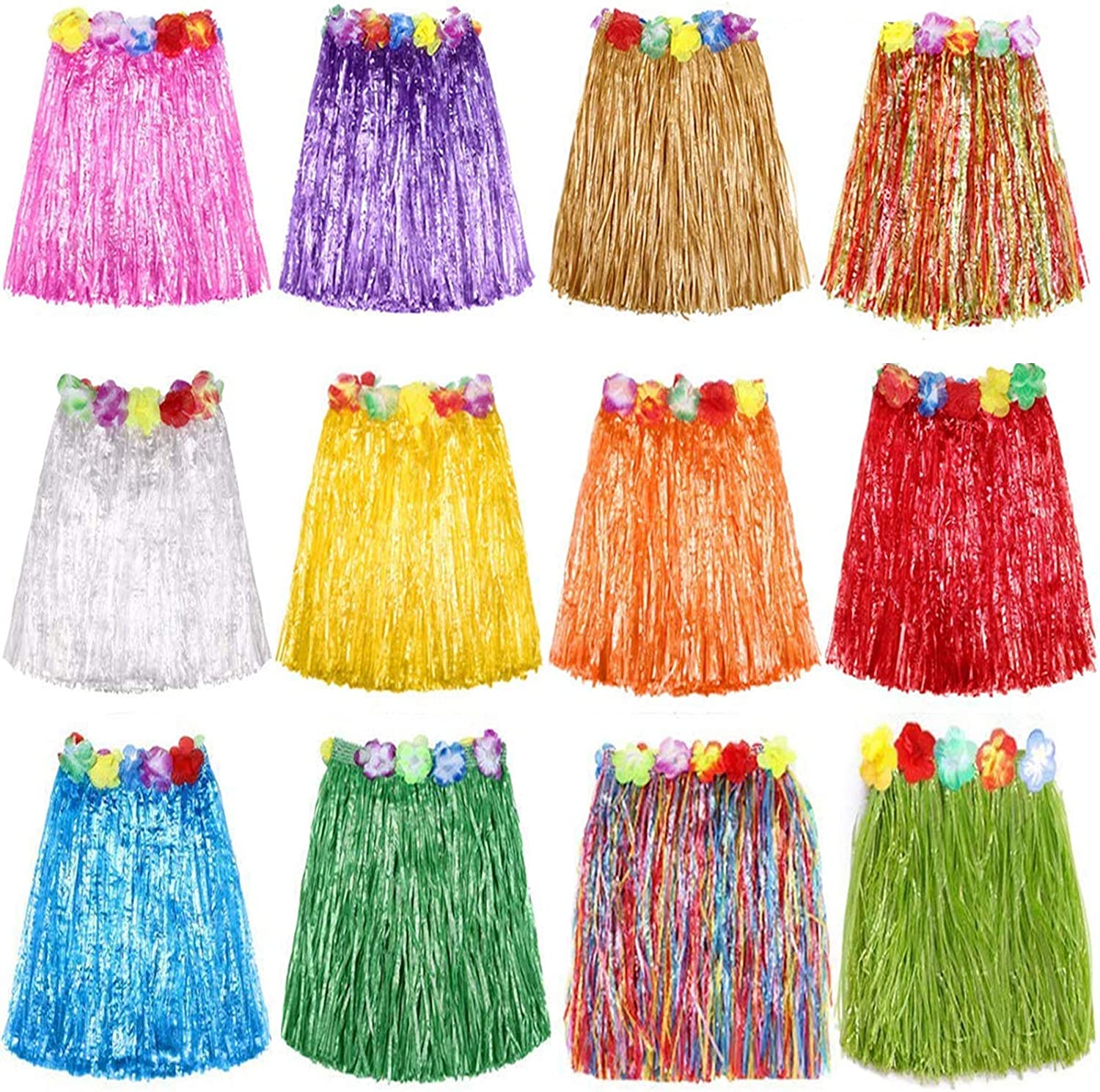 Hajoyful Grass Skirt Hawaiian Luau Hula Skirts Party Decorations Favors Supplies Multicolor Grass Skirts for Adult Elastic Hibiscus Flowers Tropical Hula Skirt for Party, Birthdays, Celebration 60CM 12 Pack, Multicolored, Large