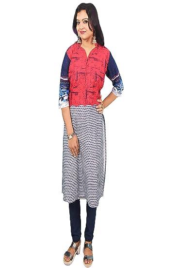 3c6145a3bb4 Women Soft Denim - Cotton printed Knee length Kurti , XL (40