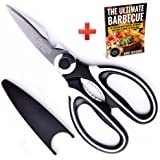 Professional-Grade Kitchen Shears by Le Gusto – Best Multi Purpose Utility Scissors with Ultra-Sharp & Strong Blades – eBook Included