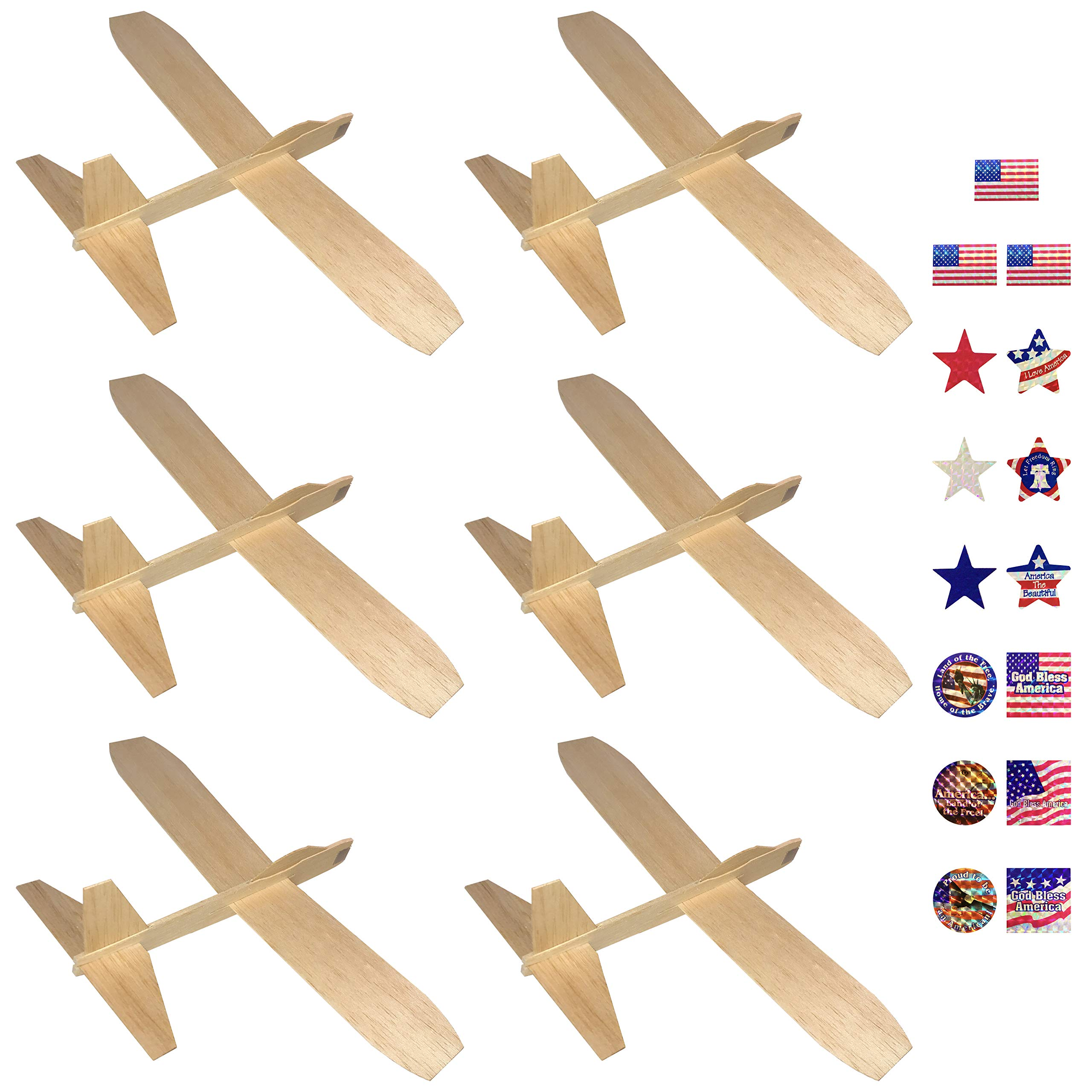 Guillows Balsa Wood Gliders Jetfire | Wooden Model Airplane Construction Kits | 12-Inch Customizable Unfinished Blank DIY Flying Toy Planes | 6-Pack with 15 Prismatic Patriotic Stickers from KYGON by KYGON Products