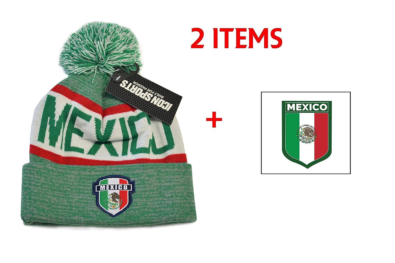 メキシコビーニーポンポン付きフラグサッカーキャップ帽子冬Fittedニットビーニー B077PNPJGR ヴィンテージグリーン ヴィンテージグリーン