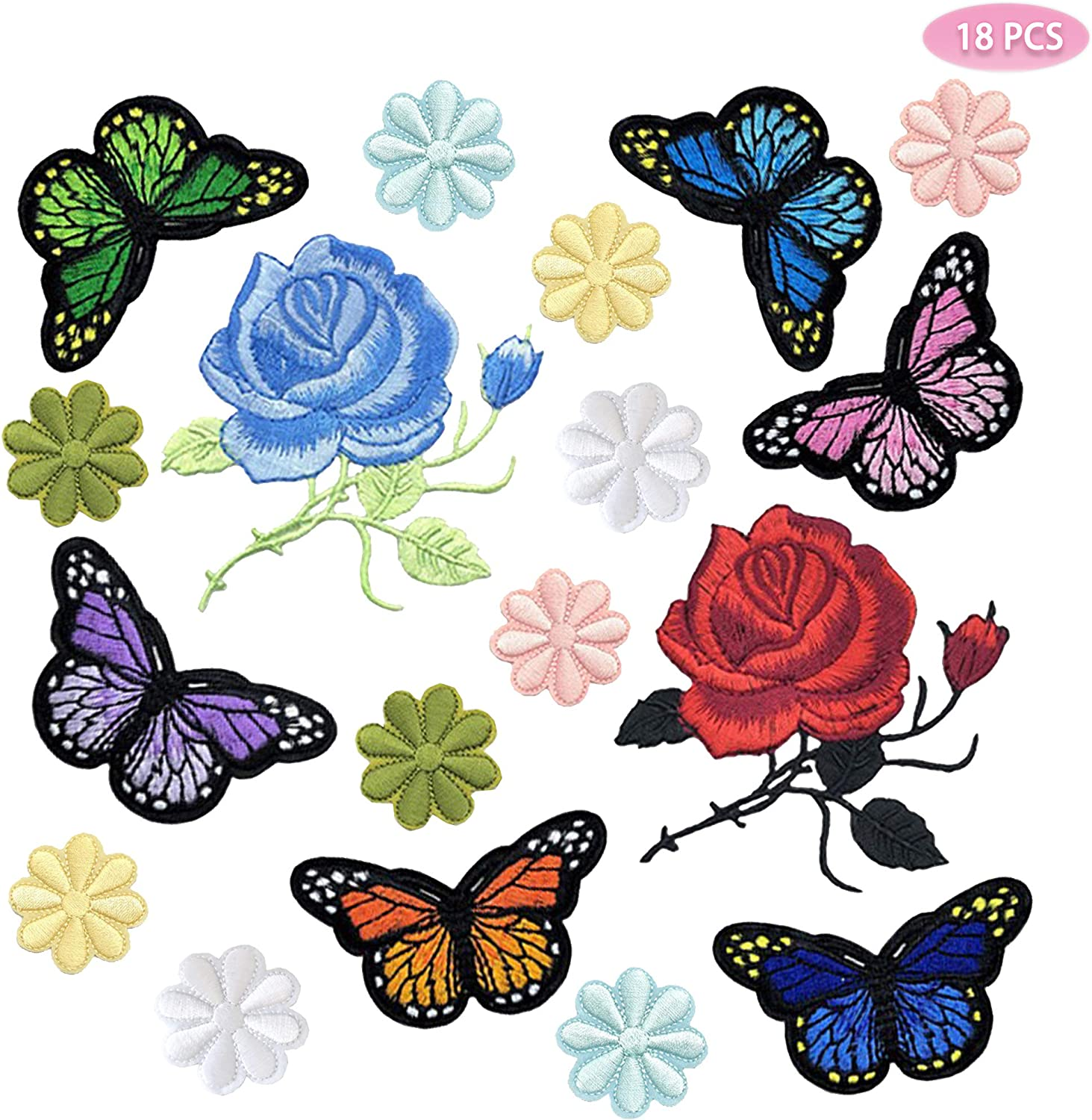 2x Butterfly Iron On Embroidered Applique Sewing Scrapbook Cloth DIY Patch new~