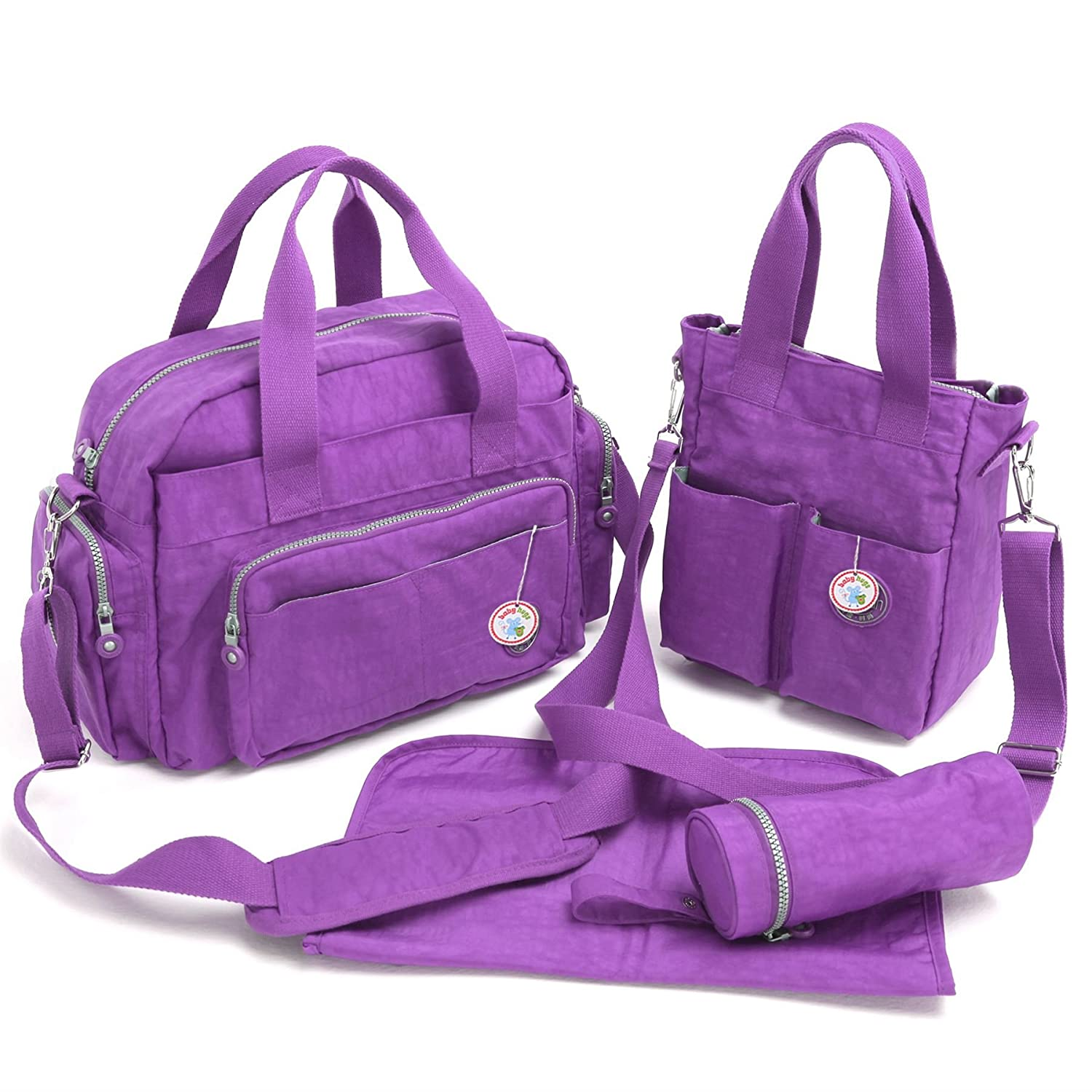 Babyhugs® 4pcs bebé Chic cambiar pañales pañales Messenger Bag Set, Color Morado