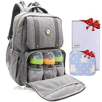 Mochila de bolsa para cambiar a bebé - Bolsas de bebé con cambiador Mochila de maternidad Mochila multifuncional para mamás Papás, gran capacidad, ...
