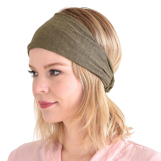 CHARM Womens Linen Head Band Mens Bandana Natural Elastic Hairband Sports  Fashion Wrap Beige 236ffdf1621