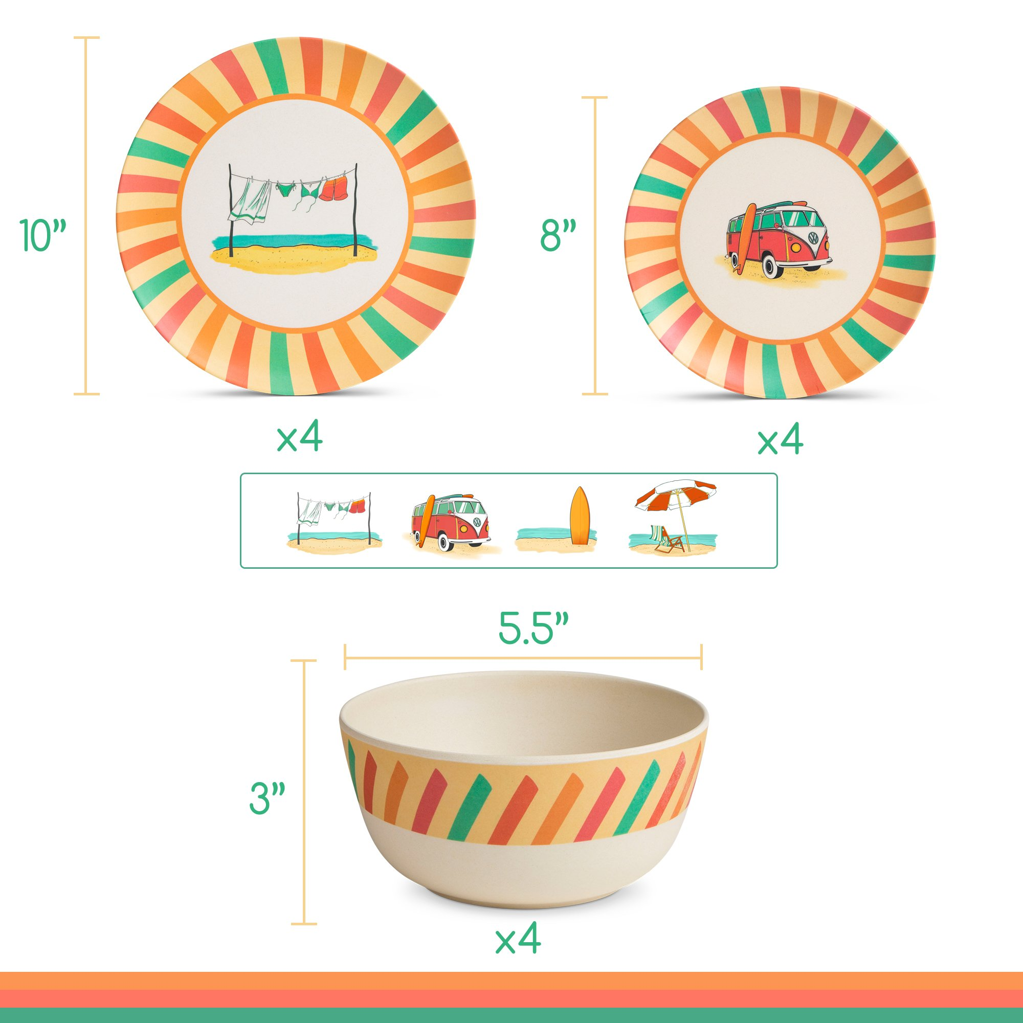 Bamboo Dinnerware Set - Camping, Kids and Family Reusable Dishes - 4 Small Plates, 4 Bowls, 4 Large Plates - Durable, Lightweight, Eco-Friendly, Non-Toxic - Casual, Retro Dishware, 12 Piece Sets by Roam (Image #6)