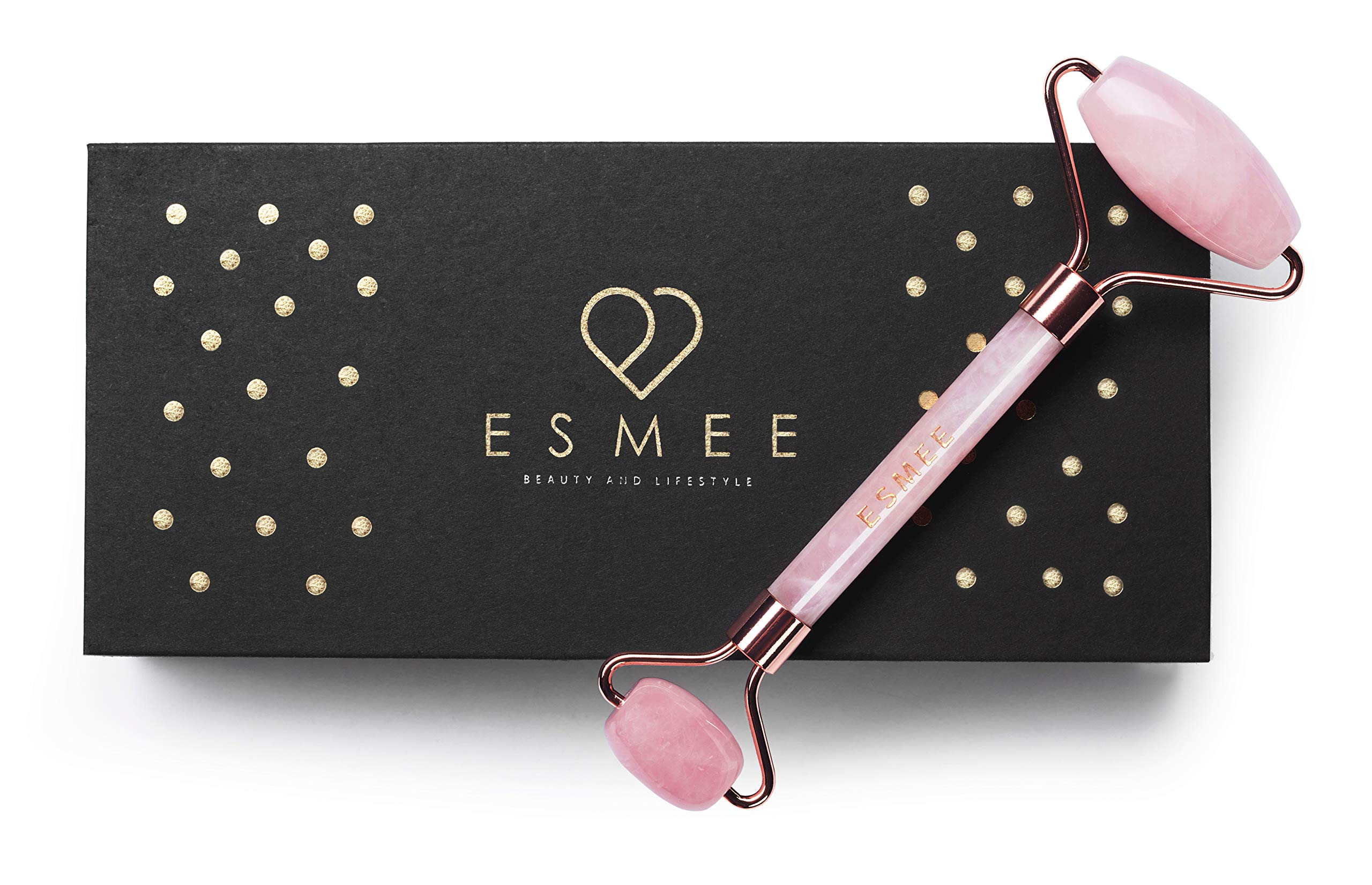 Rose Quartz Roller by Esmee | Luxury Facial Massager Stone Roller | Pink Jade Roller | 100% Real and Natural Rose Quartz Crystal| Anti-aging and Depuffer Beauty Tool for Face and Eyes