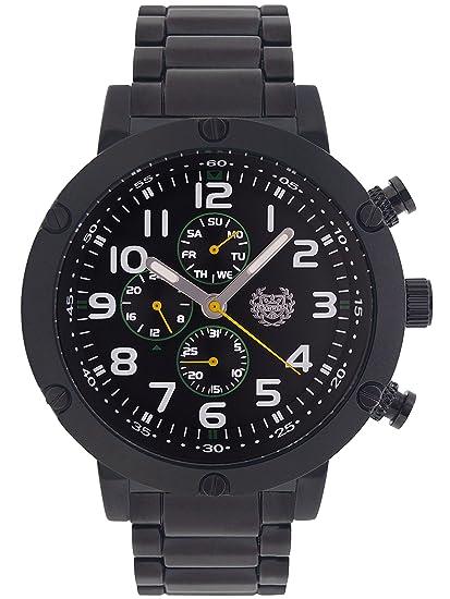 Kronwerk Reloj para Hombres Negro Pulsera Grande Cara Multifunción Día Fecha AQ202792G: Kronwerk: Amazon.es: Relojes