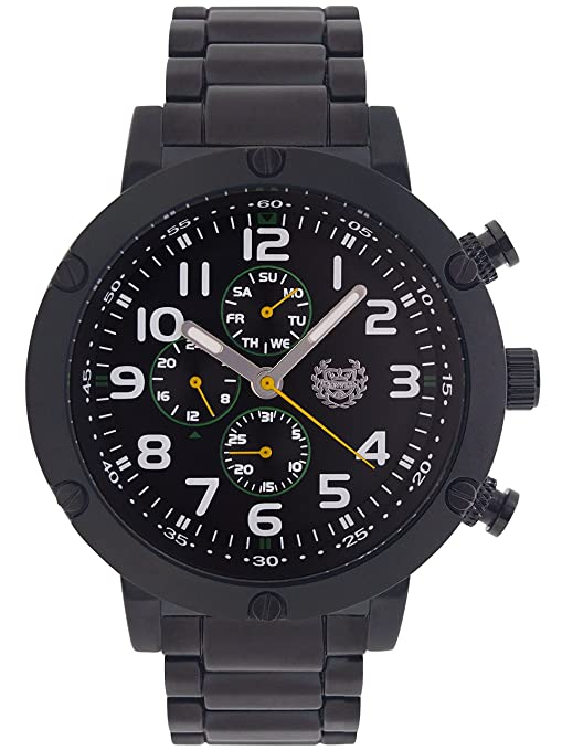 Amazon.com: ShoppeWatch Mens Black Watch Multifunction Metal Band Large Face 50mm Business Work Dress Wacht Reloj Negro para Hombre AQ202792G: Watches